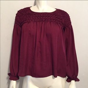 Miss Me Burgundy Smocked Peasant Top Size Small